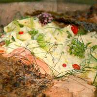 Crispy Barbecued Side of Salmon Barbeque with Cucumber Yogurt Recipe