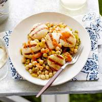 Cumin Grilled Sea Scallops with Chickpea Salad and Red Pepper-Tahini Vinaigrette Recipe