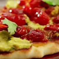 Curry Hummus Flat Bread with Tomato Chutney Recipe