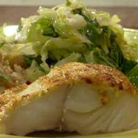 Curry-Topped Black Cod with Cumin-Scented Warm Savoy Slaw Recipe