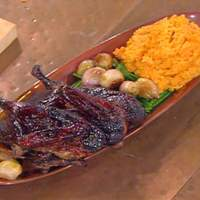 Emeril's Atlanta's Port Wine Glazed Roasted Duck with Pureed Sweet Potatoes, Haricots Verts and Roasted Shallots Recipe