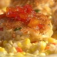 Emeril's Gulfcoast Fishhouse Crab Cakes with Sweet Corn Maque Choux and Tomato Jam Recipe