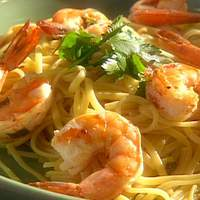 Emeril's Shrimp and Pasta with Chilis, Garlic, Lemon and Green Onions Recipe