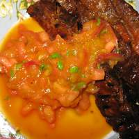 Flank Steak With Grilled Mango and Watermelon Chutney Recipe
