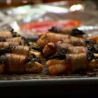 Fondue Dippers: Bacon Wrapped Chicken with Spinach, Blanched Vegetables and Apples Recipe