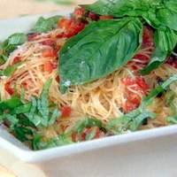 Fresh Tomato, Basil, and Garlic Sauce over Angel Hair Pasta Recipe