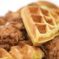 Fried Chicken and Waffles Stack with Iceberg Salad and Garlicky Ranch Aioli Recipe