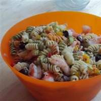 Greek Pasta Salad with Shrimp, Tomatoes, Zucchini, Peppers, and Feta Recipe