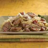 Grilled Sweet Italian Chicken Sausage with Tomato Cream Sauce Over Linguine Recipe