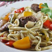 Linguine with Peppers and Sausage Recipe