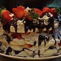 Meringue Cake with Whipped Cream and Raspberries Recipe
