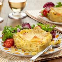 Mini Lasagnas with Sweet Corn and Mascarpone Recipe