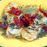 Pan-Roasted Halibut with Prosciutto, Lemon, White Wine, and Capers Recipe
