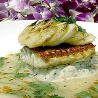 Pan Roasted Onaga (Red Snapper) with Charred Sugarloaf Pineapple, Hawaiian Hearts of Palm and Kafir Lime Jus Recipe