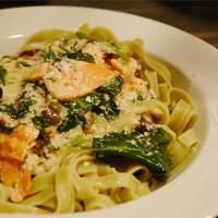 Salmon and Spinach Fettuccine Recipe