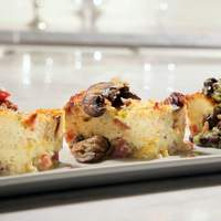 Savory Breakfast Casserole with a Trio of Toppings: Mushroom and Onion Jam, Tomato and Pesto and Avocado Black Bean Salsa Recipe