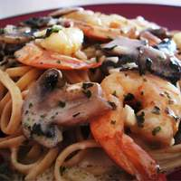 Shrimp and Mushroom Linguini with Creamy Cheese Herb Sauce Recipe