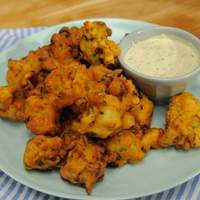 Shrimp Fritters with Cornichon Dressing Recipe