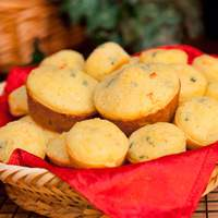 Smoked Cheddar Cornbread With Scallions and Red Pepper Recipe
