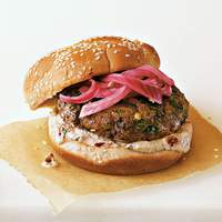 Spicy Poblano Burgers with Pickled Red Onions and Chipotle Cream Recipe