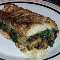 Spinach-Stuffed Flounder with Mushrooms and Feta Recipe