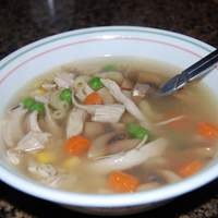 Turkey Soup With Egg  Noodles and Vegetables Recipe