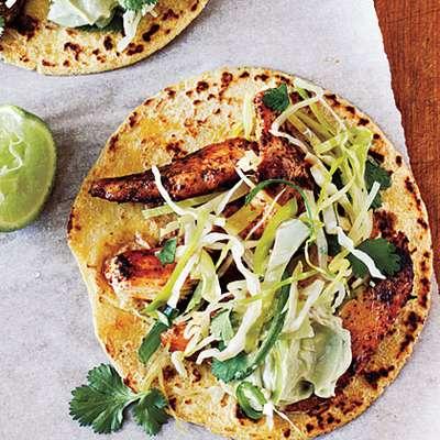 Ancho Chicken Tacos with Cilantro Slaw and Avocado Cream - RecipeNode.com