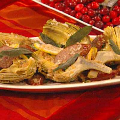 Artichokes with Pork Sausage, Lemon and Sage - RecipeNode.com