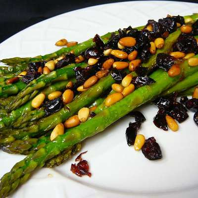 Asparagus with Cranberries and Pine Nuts - RecipeNode.com