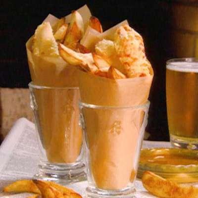 Baked Fish 'N' Chips with Honey Vinegar - RecipeNode.com