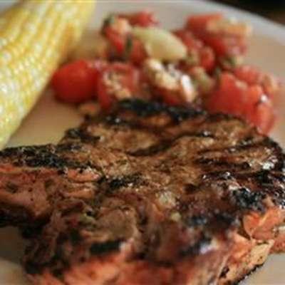 Basil-Garlic Grilled Pork Chops - RecipeNode.com