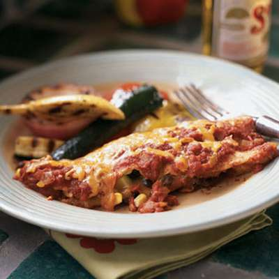 Black Bean, Corn, and Zucchini Enchiladas - RecipeNode.com