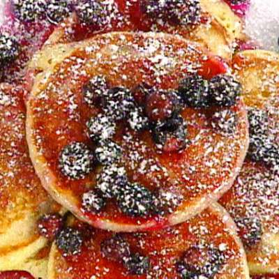 Buttermilk and Lemon Scented Pancakes with Warm Blueberry Syrup - RecipeNode.com