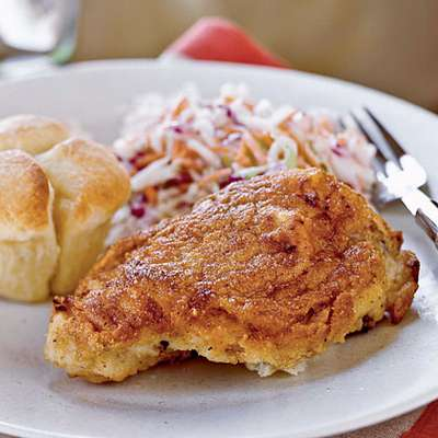 Buttermilk Oven-Fried Chicken with Coleslaw - RecipeNode.com