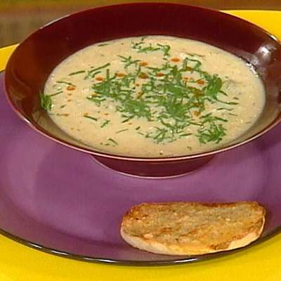 """Cauliflower Soup and Garlic and Cheese Sourdough """"Dippers"""" - RecipeNode.com"""