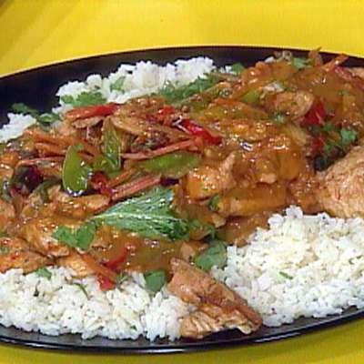 Chicken Satay Stir-Fry with Orange Scented Jasmine Rice - RecipeNode.com