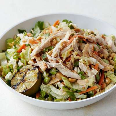 Chinese Chicken Salad with Red Chile Peanut Dressing - RecipeNode.com