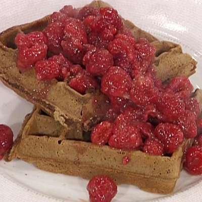 Chocolate Waffles with a Fresh Raspberry Syrup - RecipeNode.com