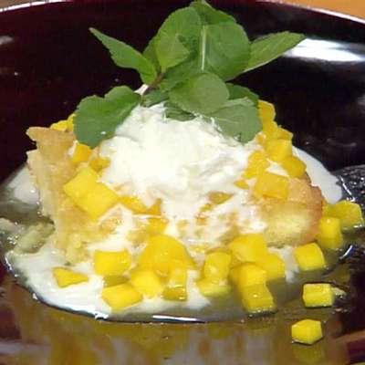 Coconut-Orange Syrup Cake with Stewed Mangoes - RecipeNode.com