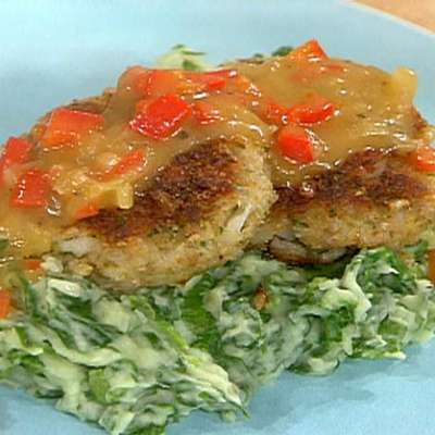 Cod Croquettes, Sweet Red Pepper Gravy, and Mashed Potatoes with Spinach - RecipeNode.com