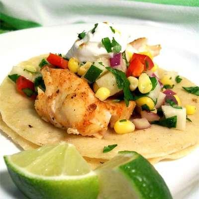 Fiery Fish Tacos with Crunchy Corn Salsa - RecipeNode.com