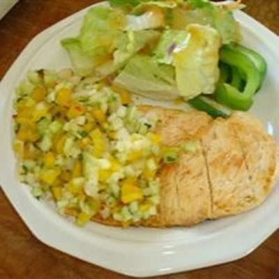 Grilled Chicken Breast with Cucumber and Pepper Relish - RecipeNode.com