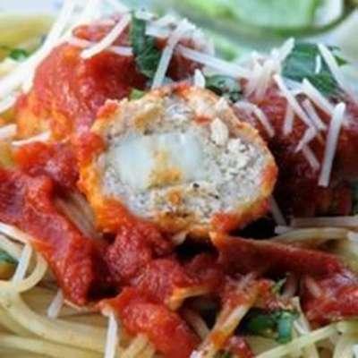 Mozzarella-Stuffed Pesto Turkey Meatballs - RecipeNode.com