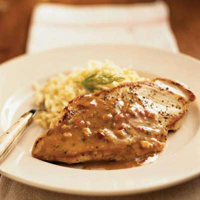 Pan-Roasted Chicken Cutlets with Maple-Mustard Dill Sauce - RecipeNode.com