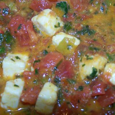 Paneer With Scallions and Tomatoes (Mulayam Paneer Bhurjee) - RecipeNode.com