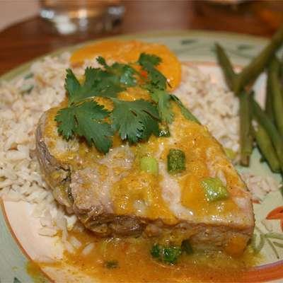 Peach Curry Glazed Pork Chops - RecipeNode.com