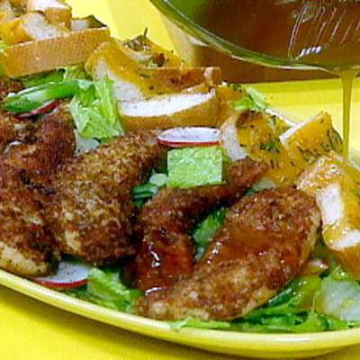 Pecan Crusted Chicken Tenders and Salad with Tangy Maple Dressing - RecipeNode.com