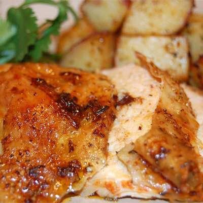 Roast Sticky Chicken-Rotisserie Style - RecipeNode.com