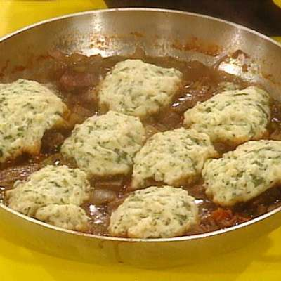 Smoky Sirloin Stew with Watercress Dumplings - RecipeNode.com
