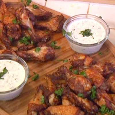 Spicy Chinese Five-Spice Rubbed Chicken Wings with Creamy Cilantro Dipping Sauce - RecipeNode.com